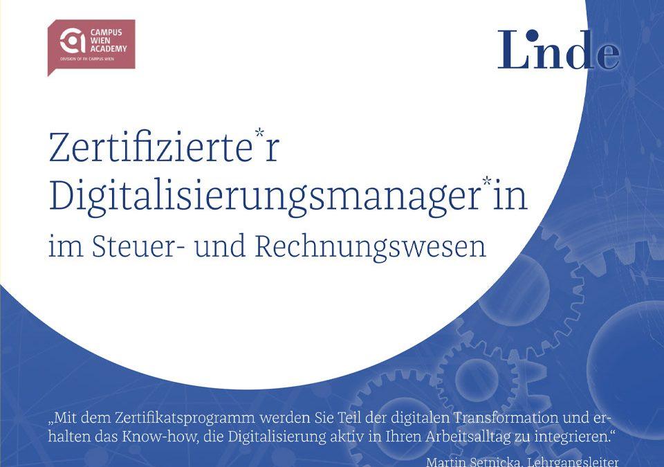 Zertifizierter Zertifikatsprogramm: Digitalisierungsmanager im Steuer- und Rechnungswesen
